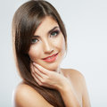 Close up portrait of beautiful young woman face. Isolated Royalty Free Stock Photo