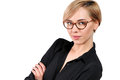Close-up portrait of beautiful young woman in glasses Royalty Free Stock Photo