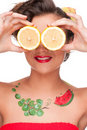 Close up portrait of beauty woman with lemon eyes Stock Image