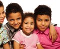 Close up portrait black family boys girls smiling Royalty Free Stock Photo