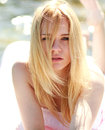 Close-up portrait of blond sensual woman Royalty Free Stock Photo