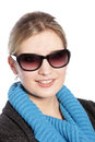 Close up portrait of blonde woman wearing sunglasses Royalty Free Stock Photos