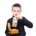Close up portrait of boy counting money isolated on white Royalty Free Stock Images