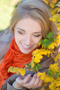 Close up portrait of dreaming girl in autumn park attractive Royalty Free Stock Photos