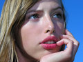 Close up portrait dreaming teenage girl outdoors Royalty Free Stock Photography