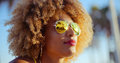 Close Up Portrait of Exotic Girl with Afro Haircut Royalty Free Stock Photo