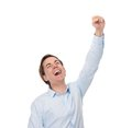 Close up portrait of a happy man with hand up in celebration isolated on white Royalty Free Stock Image