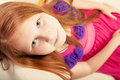 Close-up portrait of little redhead girl Royalty Free Stock Images