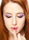 Close-up portrait of redhead girl with make-up. Stock Photos
