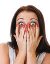 Close-up portrait of the scared woman. Royalty Free Stock Photo
