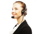 Close up portrait of woman customer service worker call center smiling operator with phone headset Stock Photography