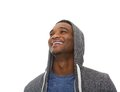 Close up portrait of a young african american man laughing on isolated white background Stock Photo