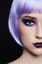 Close up portrait young beautiful girl violet wig Stock Photo