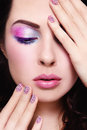 Close up portrait of young beautiful woman with fancy make up and caviar manicure Stock Images