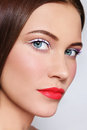 Close up portrait young beautiful woman stylish white eyeliner coral matte lipstick Royalty Free Stock Photos
