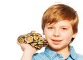 Close-up portrait of young boy with Ball python Royalty Free Stock Photo