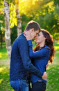 Close up portrait of young happy couple outdoors Stock Photos