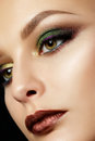 Close up portrait of young woman with beautiful makeup Royalty Free Stock Photo