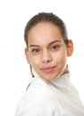 Close up portrait of a young woman with ponytail isolated on white background Royalty Free Stock Photography