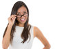 Close-up portrait of a young woman wearing glasses Royalty Free Stock Photo