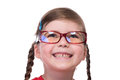 Close up portret of little girl wearing glasses Royalty Free Stock Photo