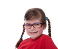 Close up portret of little girl wearing glasses isolated on white Royalty Free Stock Image