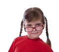 Close up portret of little girl wearing glasses isolated on white Stock Photography