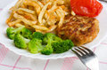 Close-up potatoes with cutlet and broccoli Royalty Free Stock Photography