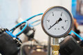 Close up of a pressure gauge the image Stock Photo