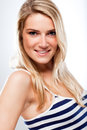 Close up Pretty Woman in Sleeveless Stripe Shirt Royalty Free Stock Photo