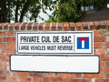 Close up of private cul de sac sign on wall