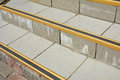 Close up on Protect from Ice Cover Slippery Stair Case. How to Avoid Danger Frozen Steps. Royalty Free Stock Photo