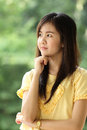 Close up protrait yong girl in the outside Royalty Free Stock Photography