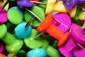Close up of pushpin colorful office texture background Stock Image