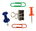Close up pushpin and paper clip on white Stock Images