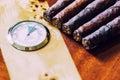 close-up quality cigar and humidor Royalty Free Stock Photo