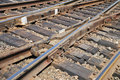 Close up a rail and railway cross ties Royalty Free Stock Photo