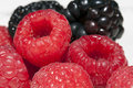 Close up raspberries and blackberries a of in the foreground in the background Royalty Free Stock Images