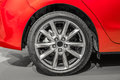 Close up rear right of a red car Royalty Free Stock Photo