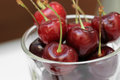 Close up of red cherry in glass Royalty Free Stock Photo
