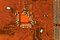 Close up of red computer circuit board Stock Photos