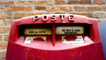 Close up red postal box public in venice italy Stock Photography