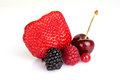 Close up of red summer fruits selection Royalty Free Stock Photos