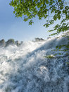 Close up of rhine falls in switzerland roaring Royalty Free Stock Image