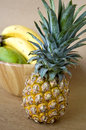 Close up ripe pineapple bowl fruits background Royalty Free Stock Images