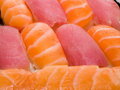 Close-up of rolls and sushi japanese food Stock Photo