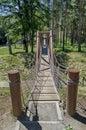 Close up of the rope bridge at ancient fortress tsari mali grad near by village belchin sofia province bulgaria Royalty Free Stock Photo