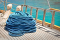 Close up of a rope on a sailboat Royalty Free Stock Photo