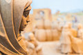 Close up of sand made statue of virgin may at beach Royalty Free Stock Photo