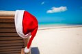 Close up of santa hat on chair longue at tropical caribbean beach see my other works in portfolio Stock Images